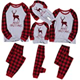 Famiglia Pigiama di Natale Elk Stampa 2 Pezzi Pigiami Cotone Top Camicetta Pantaloni Biancheria da Notte Coordinati Matching