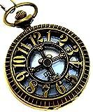 Classic Retro Steampunk de bronce antiguo reloj de bolsillo de cuarzo con cadena reloj regalos