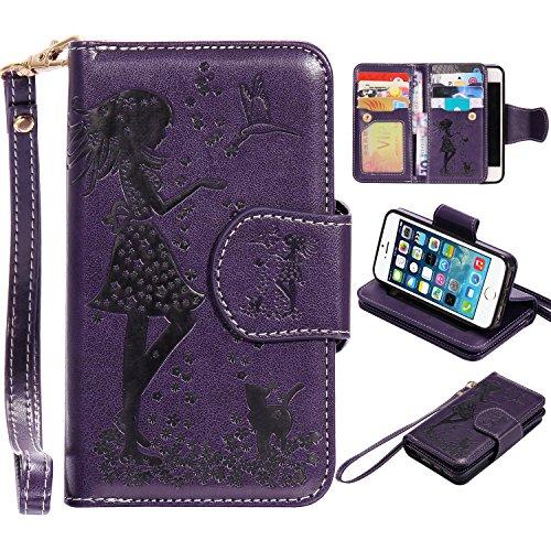 iPhone SE Hülle, iPhone 5 5S Hülle, Fraelc® Premium Kunstleder [9 Karten Slot] Flip Case Lederhülle Brieftasche Ledertasche Mädchen Muster Handyhülle mit Handschlaufe und Schutzhülle für iPhone SE / 5 Lila