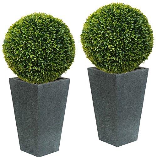 TLC 2 x 40 cm Ø künstliche Buchsbaumkugel, Spar - Set, EDEL LIGUSTER - sehr natürlich wirkend