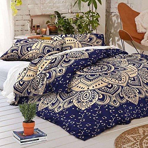 INDIAN CREATIONS Launch EIN Blue Gold Passion Mandala Bettbezug, indischen Mandala Wende-Bettbezug mit Kissenbezügen, Baumwolle Bohemian Tagesdecke Überwurf Quilt Cover