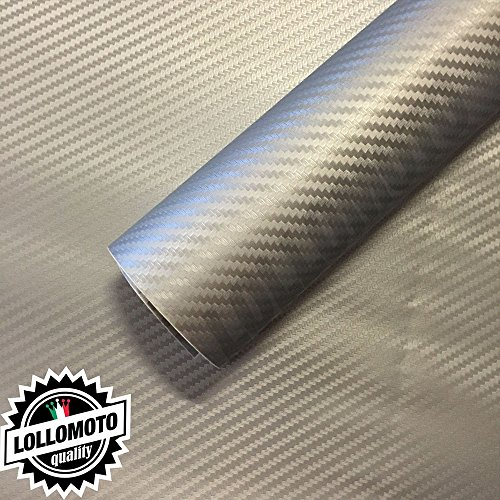 Carbonio 3d grigio silver pellicola adesiva rivestimento auto car wrapping - 76x200cm