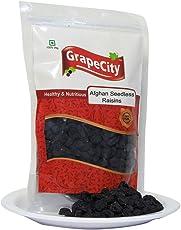 GrapeCity Afghan Black Seedless Raisins | Kishmish | Dry Grapes - 250 Grams | Premium Afghani Black Raisin | Kismis with Seedless