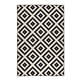 IKEA LAPPLJUNG RUTA - Tapis, poil ras, blanc / noir - 200x300 cm