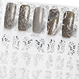 Bluelover Silver Flower 3D nail art Stickers acylic gel conseils manucure mixte forme décalcomanie décoration bricolage salon