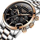 Uhren für Männer,Wasserdicht Edelstahl Analog Quarz Watch Männer Luxus marke LIGE Business Kleid Armbanduhr Mann Rose Gold Schwarz Uhr