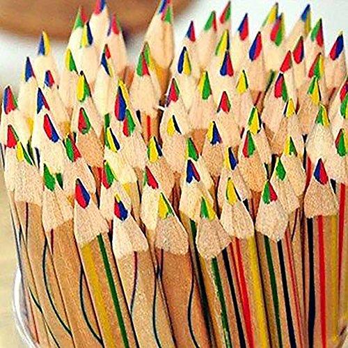 Saniswink 100Langlebig Rainbow Farbe Bleistift 4in 1Farbigen Zeichnen Malen Zubehör Set glatt und gut Geschrieben Pen Multi