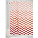 InterDesign Ombre Chevron Fabric Shower Curtain, Long Polyester Shower Screen with Chevron Pattern Design, Coral