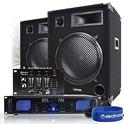 2x 15 Inch PA DJ Party Sound System Speakers + Power Amplifier + Mixer 2000W