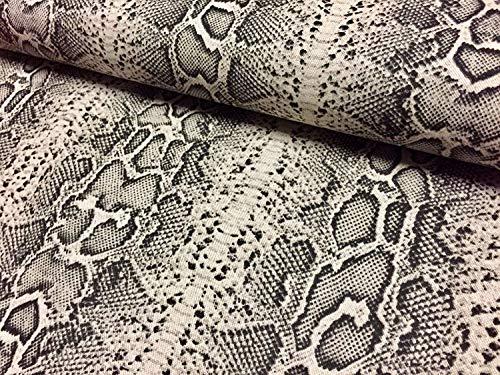 Schlangenhaut Python Schwarz & Creme Tierdruck Stoff Leinen Baumwollmischung - Gardinen Dekor Kleid Polsterung - 140cm breit (Meterware) - Python-stoff