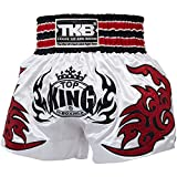 TOP KING Muay Thai Shorts, TKTBS-098, weiß, Boxing Thaibox Kickbox Short Hosen Größe XL