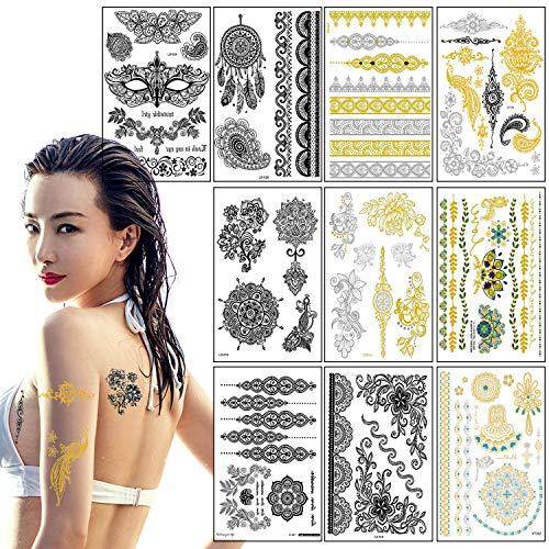 Tatuaggi temporane metallico per donna bambini adulti, impermeabile tatuaggio temporaneo, moda in oro argento sticker body art boho tattoo, removibili flash adesivi gioielli tattoo 21cm*15cm