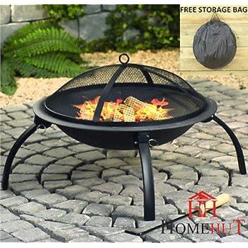 Grande Brasero Chauffage de terrasse de jardin pliante en acier Grill barbecue Bol de camping avec Poker, grille, grille et sac de transport