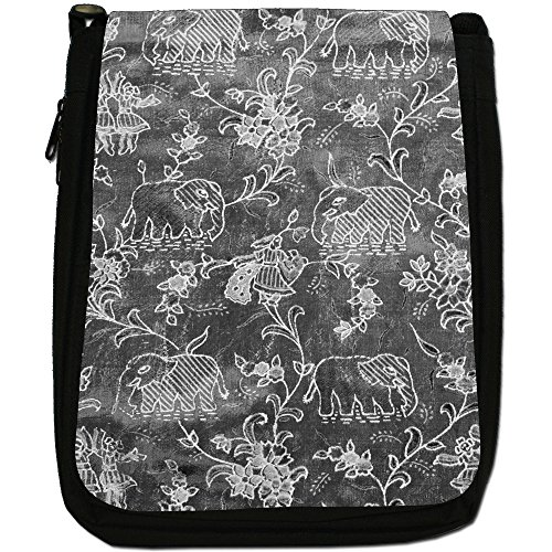 Indiano Elefanti Medium Nero Borsa In Tela, taglia M Indian Elephants - Grey