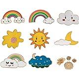 8 Pezzi Spilla di Smalto, Spille da Bavero, Cartone Animato Spilla Badges, Arcobaleno Spilla Colorati Perni Smalto Gioielli,
