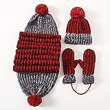 Donna Cappelli Sciarpe guanti tre set invernale sciarpa cashmere cappuccio addensante una calda set regalo,rosso