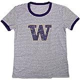 Blue 84 NCAA Washington Huskies Women's Tri-Blend Retro Stripe Ringer Shirt, Medium, Purple