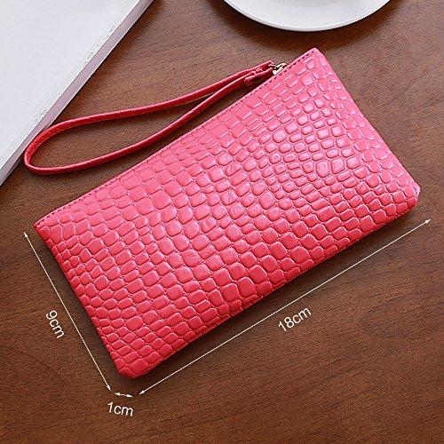 Portafogli per donna con cerniera in pelle di grande capacità con cinturino da polso Rosso