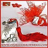 Stimmplatten aus Metall silberfarben A Form-Pergament mit Gravur Agrarwissenschaften mit Öse mit Quaste Rot-Bonboniere Laurea, Anhänger kit 3 pz. rosa in scatola