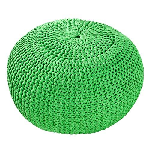 Design Pouf Leeds en tricot 50cm Siège occasion Repose-pieds Pouf Assise avec de choix de couleur, Coton, citron vert, 50 cm