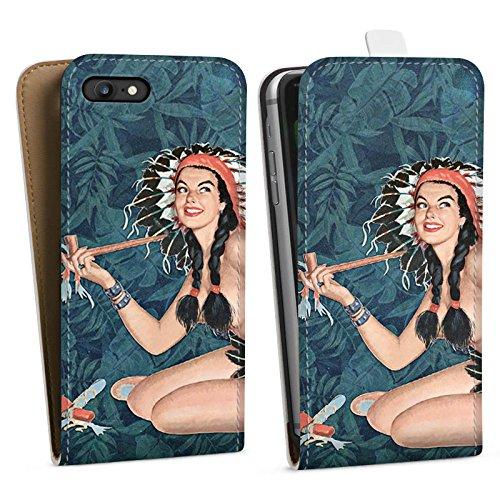 Apple iPhone X Silikon Hülle Case Schutzhülle Indianer Frau Pinup Downflip Tasche weiß