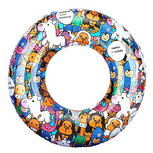 HeySplash Cartoon Schwimmring, Aufblasbar Haltbar Runde Schwimmreifen Flamingo Sommer Pool Beach Party Lounge Floßrohr Spielzeug mit Reparatursatz für Kinder Jugendliche 80 cm Durchmesser - Himmelblau