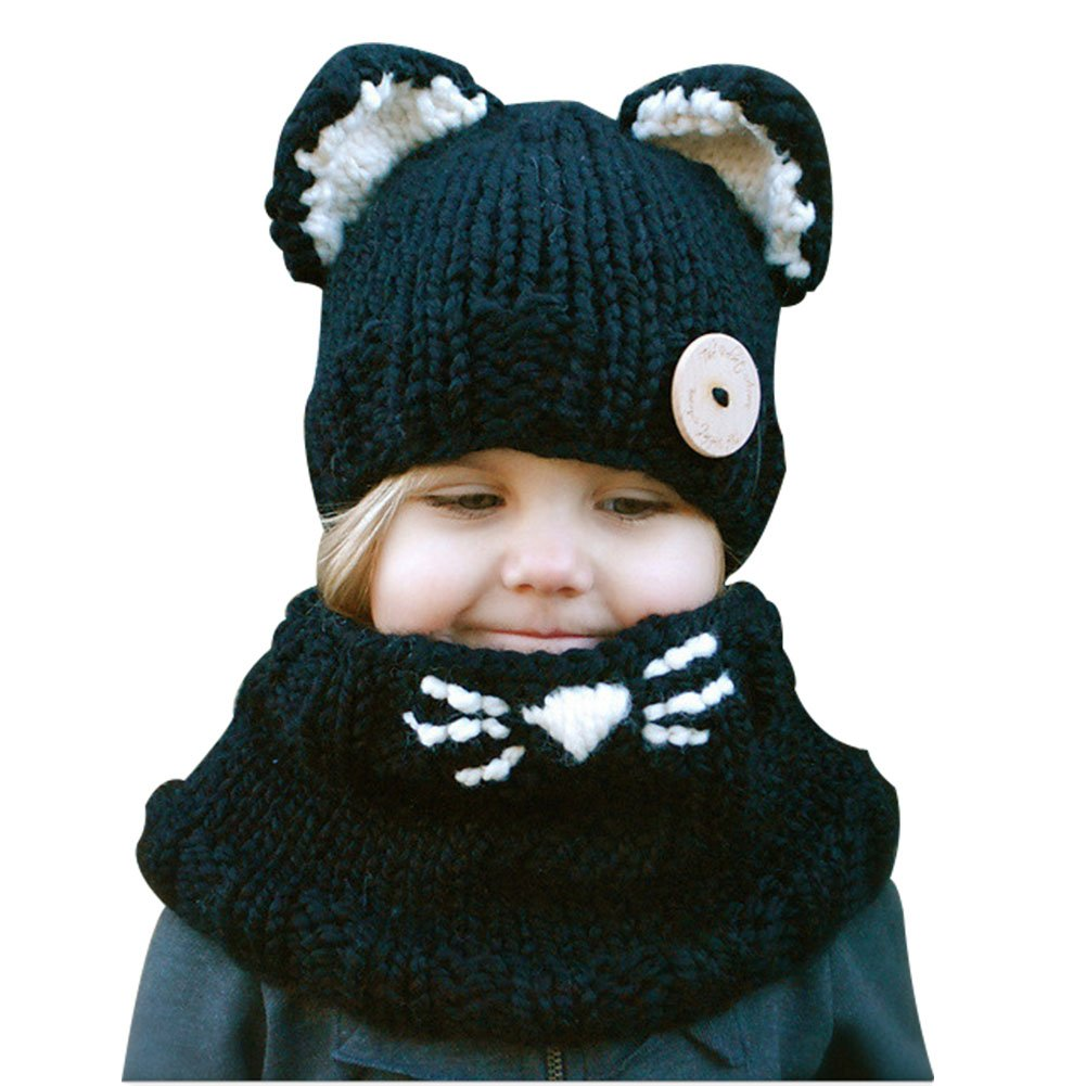 Richoose Oreilles de petit chaton Coiffe d hiver chaud chapeaux tricoté  écharpe Set pour bébé 8edd2131228