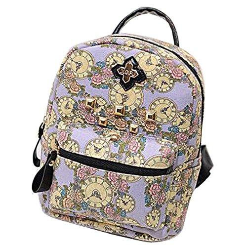 Gaorui zaino zainetto donna ragazza borsa tela bag stampa orologio vintage backpack Viola