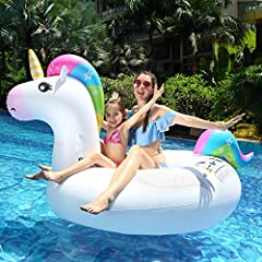 Idea Regalo - infinitoo Gonfiabile Gigante Unicorno Giochi Cavalcabile Unicorno Estate Materassino Gonfiabile Galleggiante per Nuoto in Piscina, Spiaggia e Mare per Bambini e Adulti PVC 210 Cm*110cm*115 cm