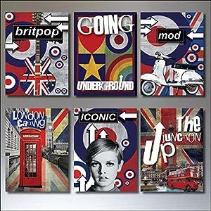 6 Pop-Kultur Kühlschrankmagnete Mod Roller retro Punk Rocker Vintage Musik