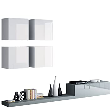 Wohnwand Pixel II Modernes Wohnzimmer Anbauwand Fernsehschrank Design Mediawand Hngeschrank
