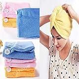 Harikrishnavilla Women's Combo of Absorbent Microfiber Towel Turban Shower Caps/Hat/Wraps, 21x51cm (Multicolour, Microfiber hair wrap-2)- 2 Pieces
