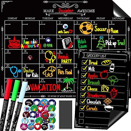 Kiamyah Magnetische Tafel-Kalender-Set für Kühlschrank - inklusive großer Monatsplaner, kleiner Lebensmittel/To-Do-Liste, 3 Marker, 24 Kühlschrankmagnete und großer Radiergummi