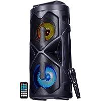 NK Mini Tower Haut-parleur de sol portable - Mini tour de son Bluetooth, 10 W, sans fil, lumières LED, télécommande, USB…