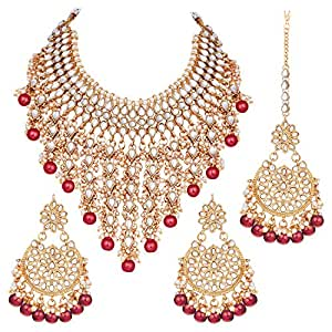 PEORA Traditional Wedding Wear Kundan & Pearl Drop Bridal Dulhan Necklace Earring Set with Maang Tikka for Women & Girls (Red)