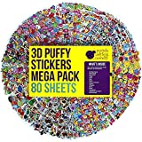 80 Different Sheets Puffy Childrens Stickers Mega Variety Pack by Purple Ladybug Novelty, 2000 3D Puffy Stickers for Kids, Toddlers, and Children, Including Animals, Smiley Faces, Cars, Letters, Stars and Tons More!