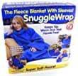 Adult snuggle wrap blanket with sleeves (Blue)