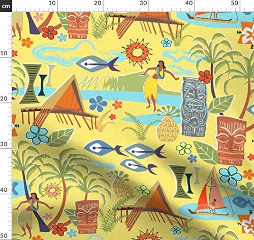 Hawaii, Tiki, Fisch, Palme, Mitte Des Jahrhunderts, Tropisch, Inseln Stoffe - Individuell Bedruckt von Spoonflower - Design von Vinpauld Gedruckt auf Synthetik Jersey (Tiki-fisch Tank)