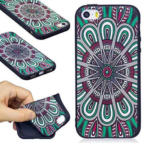iPhone SE Fall, iPhone 5/5S Fall, firefish Weich TPU Gel [Slim Fit] [Stoßdämpfung] Snap auf geprägter Druck Silikon Bumper Gummi-Haut, Cover für Apple iPhone 5/5S/SE, Mandala, Apple iPhone 5/5S/SE