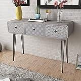 Anself Konsolentisch Beistelltisch Tischkonsole mit 3 Schubladen Grau