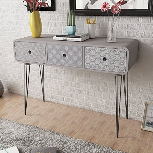 Anself Shabby Chic Console Table Side Cabinet 3 Drawers for Living Room Hallway Furniture Grey