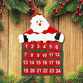 luoem christmas countdown advent calendar christmas hanging santa claus decoration ornament