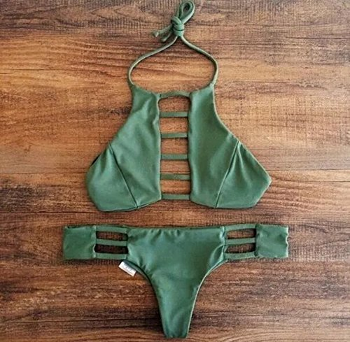 Vandot Damen Sexy Split Badeanzug Swimwear Bikini Push Up Bandeau  Neckholder Brustpolste Cups Strand Bademode Swimsuit Tankini Beachwer High  Waist Hohe ...