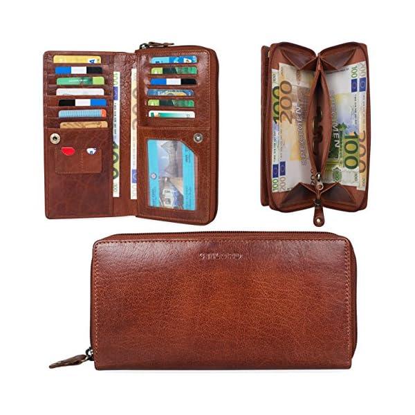 STILORD 'Dana' Cartera Mujer Piel Vintage Anti RFID Monedero Grande con Cremallera Billetera Horizontal para Tarjetas…