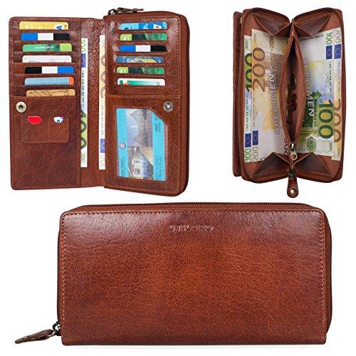 STILORD 'Dana' Portamonete da donna pelle vintage portadocumenti grande borsa portafoglio classico étui borsellino per monete carte banconote documento d'identità, Colore:nero mandorla - marrone