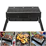 GEYUEYA Home Barbecue Four de Charbone Portable BBQ Charbon Pliable Robuste, Petit...