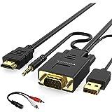 VGA till HDMI-adapterkabel med ljud, konvertera VGA-källa (PC) i HDMI-kontakt (TV/bildskärm) 1080P, FOINNEX aktiv manlig VGA