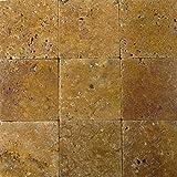 Wohnrausch WFG1010 Travertin Fliese Gold antik hell- bis dunkelgold 10cm x 10cm x 1cm 50 Stück