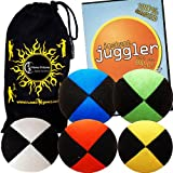 Jonglierbälle 5er Set - Profi Beanbag Bälle aus Velours + Jonglieren Lernen-DVD (Englisch) +Tasche. Komplett-Set Ideal Für Anfänger Wie Auch Für Profis.