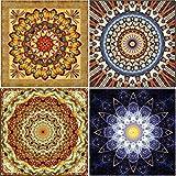 EVNEED 5D Diamant Set besatzarbeiten Schrank Tisch Aufkleber Kristall Strass Diamant Stickerei Gemälde Bilder für Study Room, Flower Painting (25x 25cm/24,9x 24,9cm), 4Stück Gelb